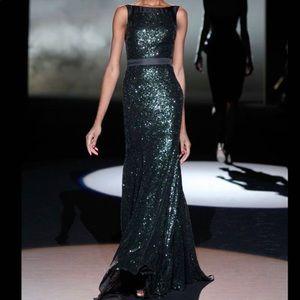 Badgley Miscka Black Sequin Evening Gown